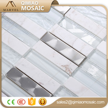 Polished Stainless Steel Blend Glass Stone Mix Mosaic Decoration