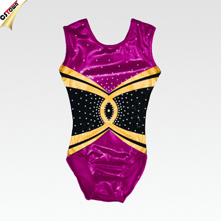 Factory OEM Shining Rhinestone Detailed Performance Leotards for Gymnastics