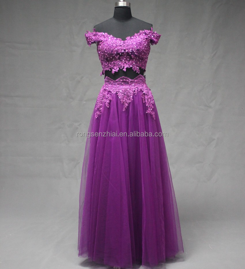 Purple Color Off-shoulder Beaded Appliqued Two Pieces Tulle Long Prom Dress Cheap Bridesmaid Dresses