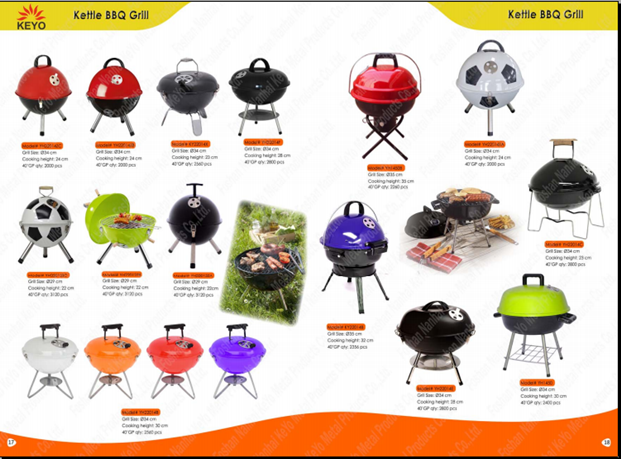 "KEYO high tempreture resistant safety device 16""17""18""22"" inch kettle charcoal BBQ barbecue grills with EN standard"