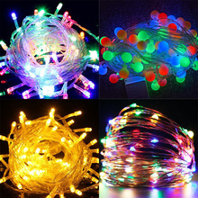 String/wire/ball flash holiday lights waterproof decoration multicolor battery Outdoor led christmas lights