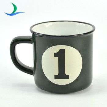 New Custom ceramic coffee mug with Imitation enamel look design