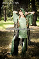 Modern Latest Green Fairy Hooded Tunic in Absinthe Green Sparkle 2016