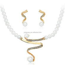 Bending V shape pearl indian bridal jewelry sets jodha akbar sterling 925 silver jewelry set