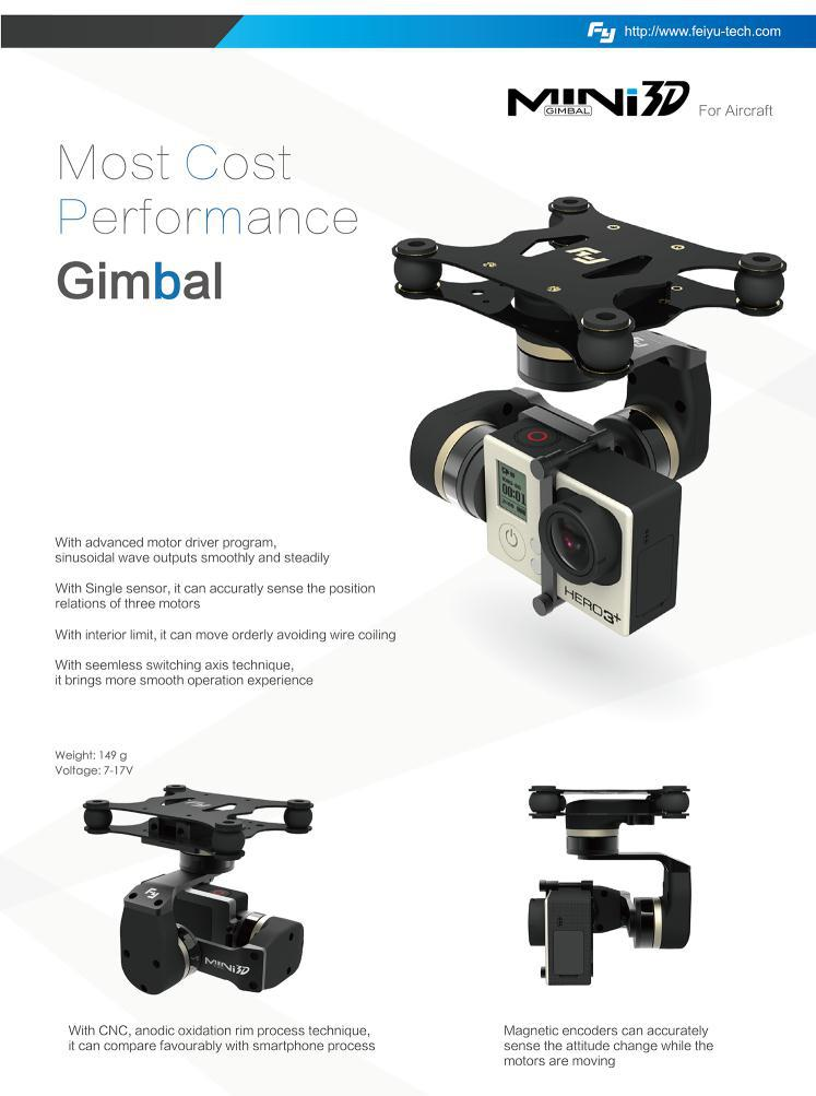 FYNew 3axis brushless MINI 3D aircraft gimbal for Gopro 4 GoPro3+ GoPro3 FPV equipment