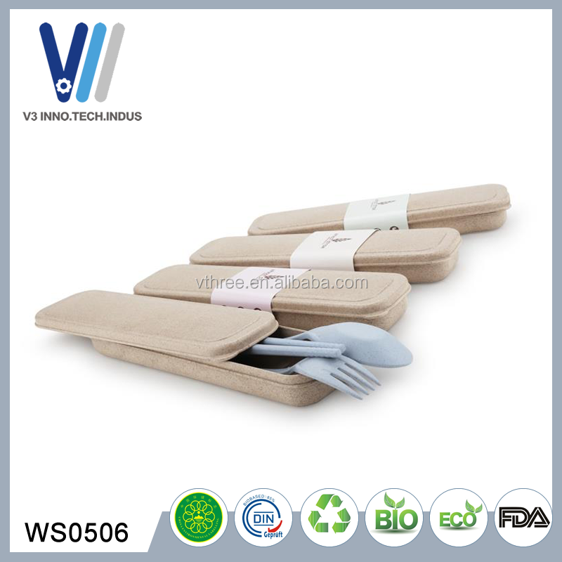Good Quality Custom Reusable Plastic Travel Wheat Straw Cutlery Set With Case