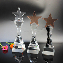 New design super quality business or souvenir use K9 crystal star trophy from China manufacturer