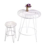 2015 new modern iron wire nested bar table and stool