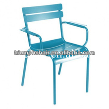 Powder coated Aluminium Dining arm chair /Replica Fermob Luxembourg Chair/Metal Fermob restaurant chair