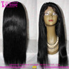 7A grade sexy 100% remy virgin indian human hair wig bleached knots long black straight hair wig