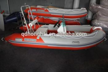 3.9m fiberglass inflatable boat of center console and steering wheel, seat box and roll bar with CE certification