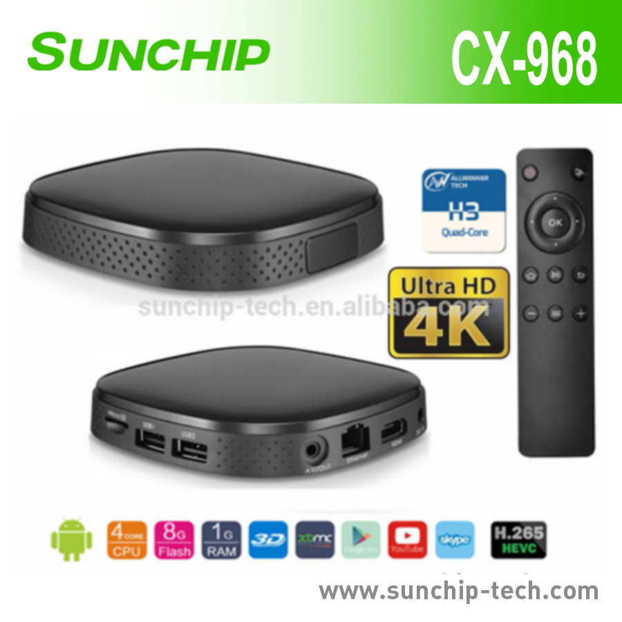 2017 hotHigh Quality Best Internet Box; Cheap TV Box 4K Movies Android Stream Quad Core Smart TV Box, CX-968, with Allwinner H3