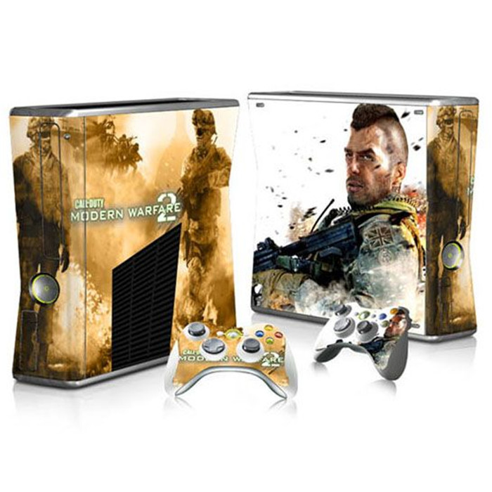 Custom design sticker cover for xbox 360 slim console and 2pcs controllers skins