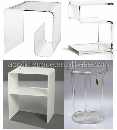 s shape lucite side table with magazine rack