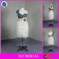 CR22 Real Sample Fashion Appliqued One Shoulder Short Feather Cocktail Dresses