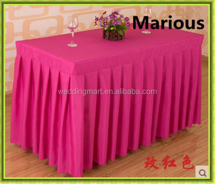 High quality rectangle polyester table skirt wedding cheap for sale