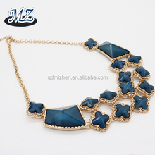 flower shape blue stone resin bead chunky bib necklace