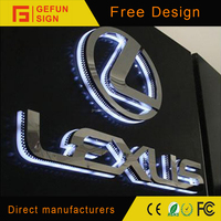 Custom Outdoor Surface Mirror Polished LED Car Brand Logo