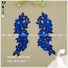 Newest Fashion Trend 3D Flower Lace Embroidered ,Hand Pearls Stones Beaded Embroidery Laces Appliques For Fashion Dresses