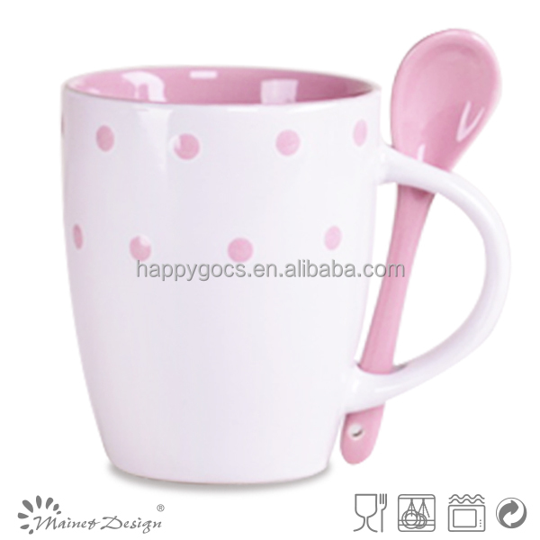 Adorable Dot decoration ceramic coffee cup with spoon,Two colour milk mug handle white ourside stoneware