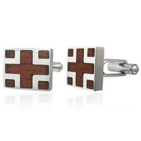 Hot Sale A Pair Of Modern Stainless Steel Cufflinks Inlaid Red Real Wood cuuflinks China Supplier