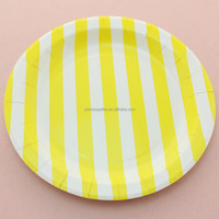 Eco-friendly 9 inch Yellow Striped Round Party Paper Plate for Wedding Personalized Favors