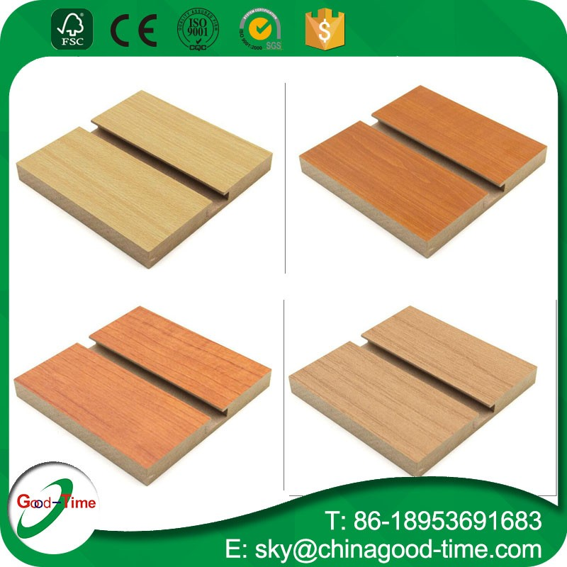 MDF slatwall panel 18mm / slot board for display accessories/Linyi manufactuer