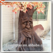 guangzhou songtao plastic artificial tree stumps and trunk decorative tree human face