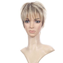 blonde color Caucasian short wigs