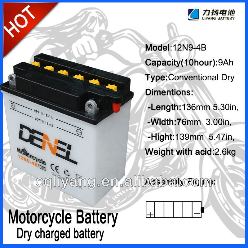 12V motorcycle starting battery 12N9-4B Dry Charged motorcycle battery,good quality for street motorcycle SL125-5
