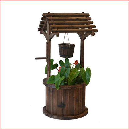 Rustic Outdoor Wishing Well Planters