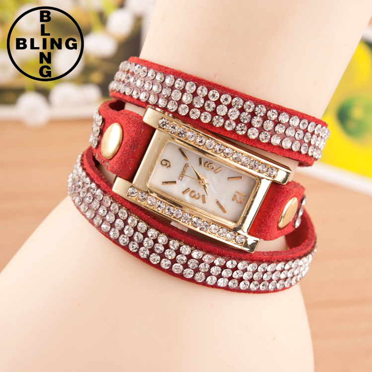 >>>Fashion Women Rhinestone Leather Bracelets Wrap Lady Wrist Watch Women Imitation Cheap Watch