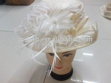 white fashion feather lady's church hat MH-0212