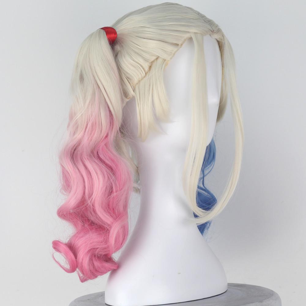 Miss U Cheveux Fille Longs Bouclés Suicide Harley Quinn Équipe Halloween Film Cosplay Costume Perruque