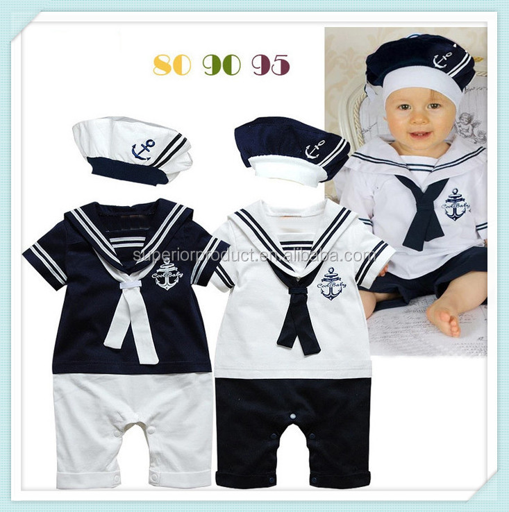 New fashion Summer Newborn navy style baby romper suit kids boys girls rompers+hat body summer short-sleeve sailor suit