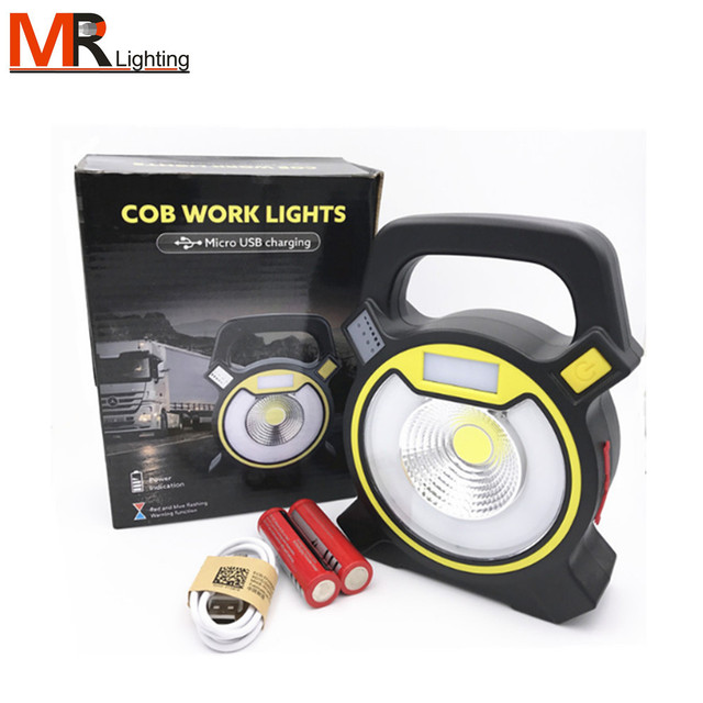 30W Rechargeable Hand-held Portable COB LED Work Lights Camping Lamp, White Light + Red & Blue Flashing Warning Function