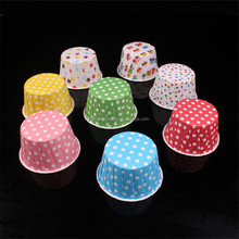 Wholesale Custom PET Coated Roll Mouth Baking Cake Cups Muffin Cupcake Wrappers for wedding