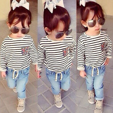 B11159A Wholesale Kids's Stripe top+denim pants clothing sets fashion girls clothing