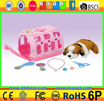Plastic pet grooming carrier house set game toy play vet doggy carry case pets toy