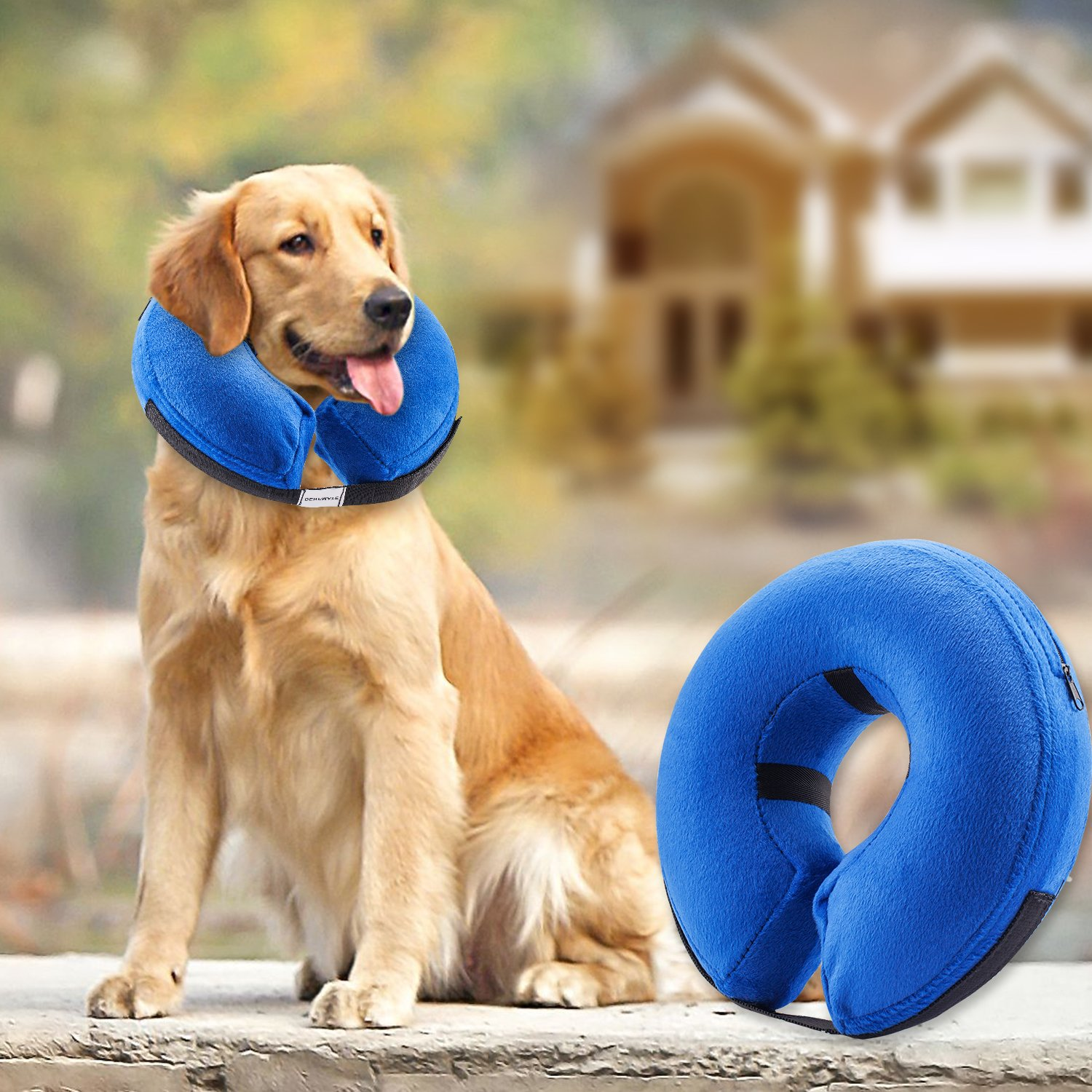 Protective Inflatable Pet Collar Dog Recovery Collar for Surgery Soft Adjustable Comfortable Pet E-Collar for Dogs and Cats