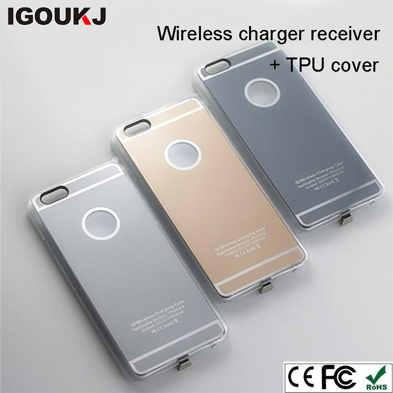 Free shipping wireless receiver charging case adapter receiving housing in TPU case 2 in <strong>1</strong> for iPhone 7 7 plus 6S 6S plus 5