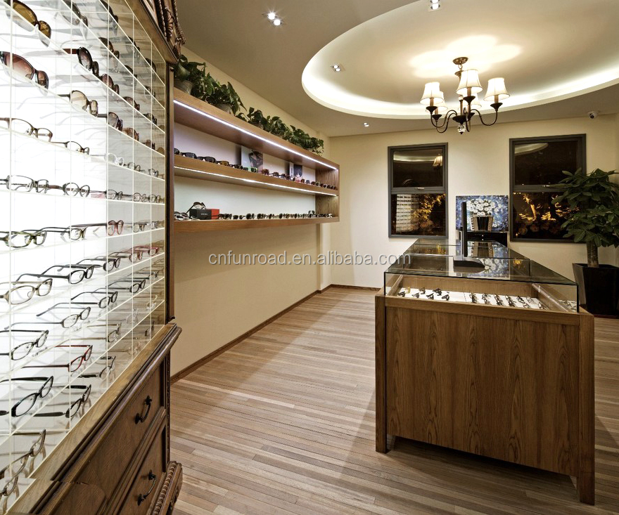 Fashion Retail Wooden eyewear display For Optical Shop Interior Design