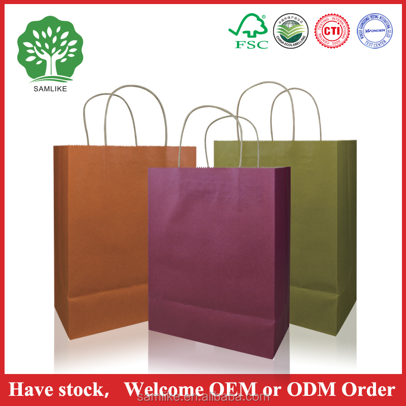 Factory Wholesale fashionalable brown kraft paper gift bag