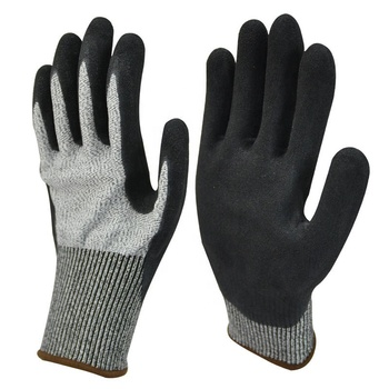 Non Slip Industrial HPPE Knit Sandy Foam Nitrile Coated Dipped Working Safety Anti Cut 5 Gloves
