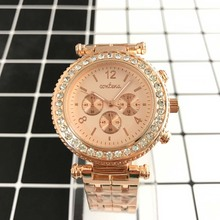 Rhinestone Leather Fashion Women Bracelets Wrap Lady quartz watch
