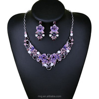 Fashion Purple Flowers Necklace Earrings Silver Plated African Crystal Jewelry Sets