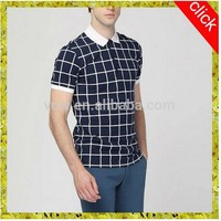 Fashion style casual new designs 2015 mans100%cotton boys/man polo collar splicing plaid polo shirts with different colors