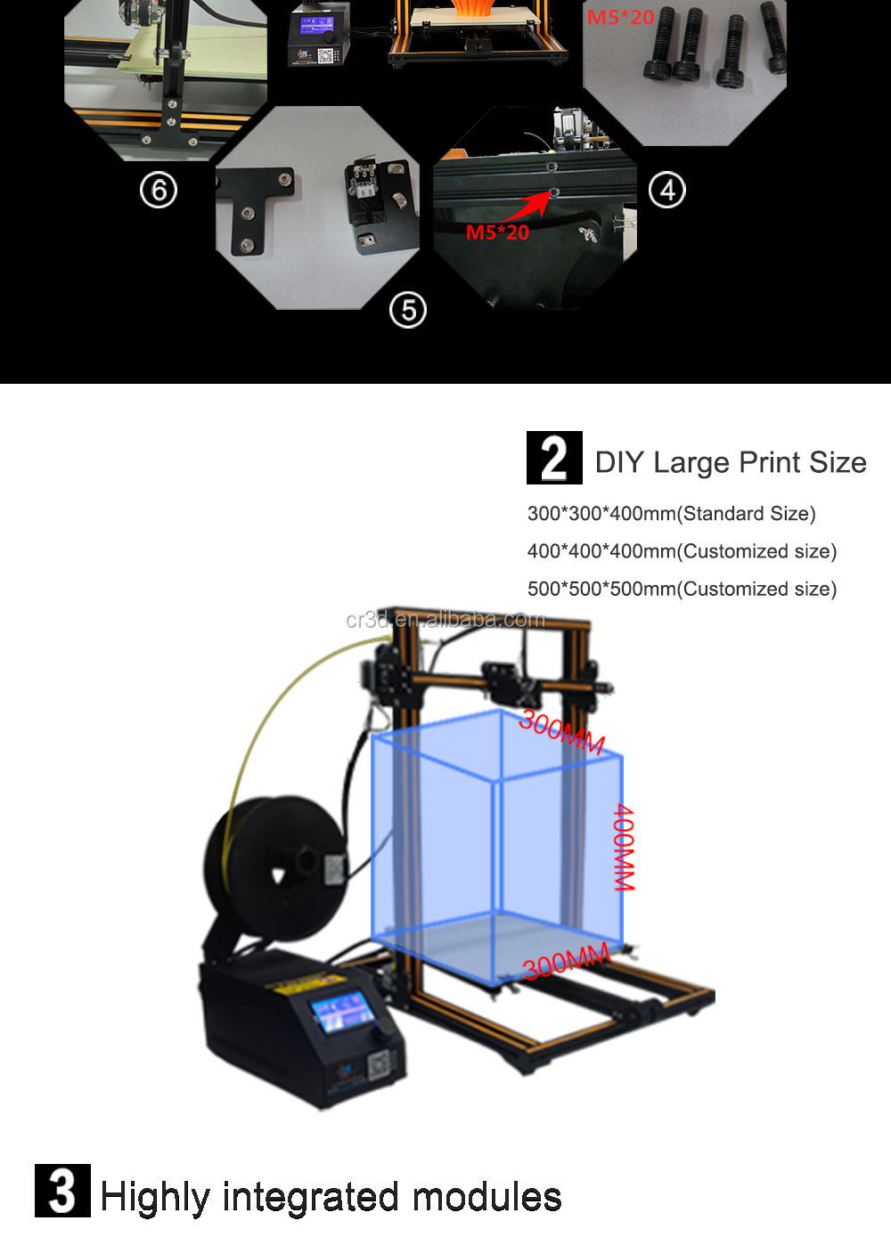 Creality CR-10S upgraded CR-10 dual z-axis lead screw filament sensor power printing size400x400x400 or 500x500x500
