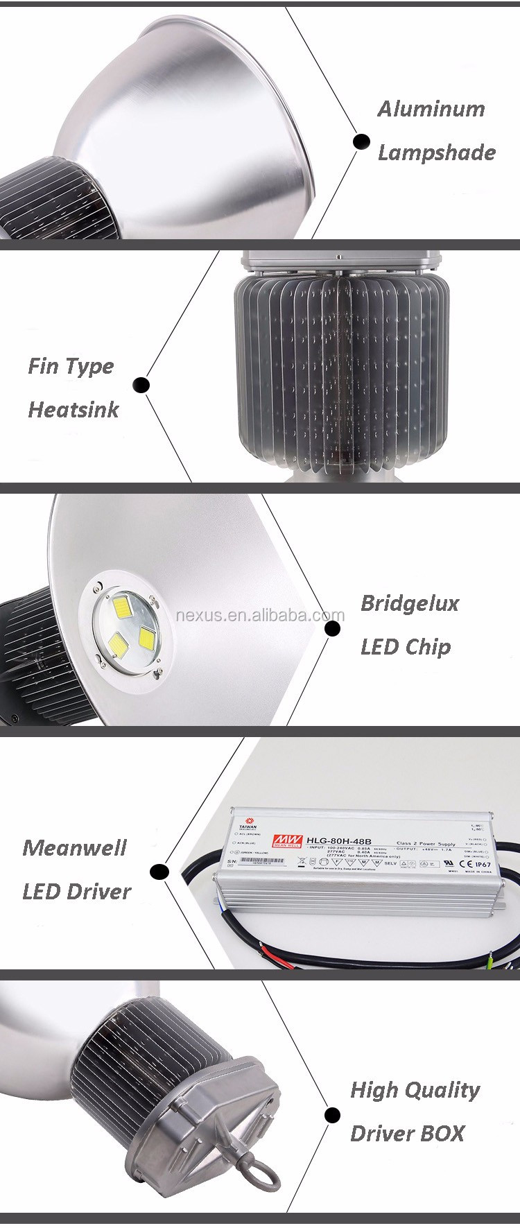 Top Quality High Power Meanwell Bridgelux 400w LED High Bay Light