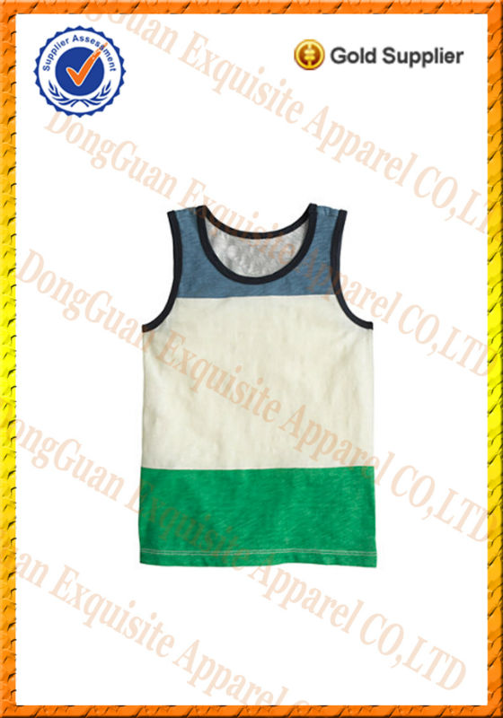Boys 100% cotton color block fashion tank top / singlet /cheap china wholesale kids clothing